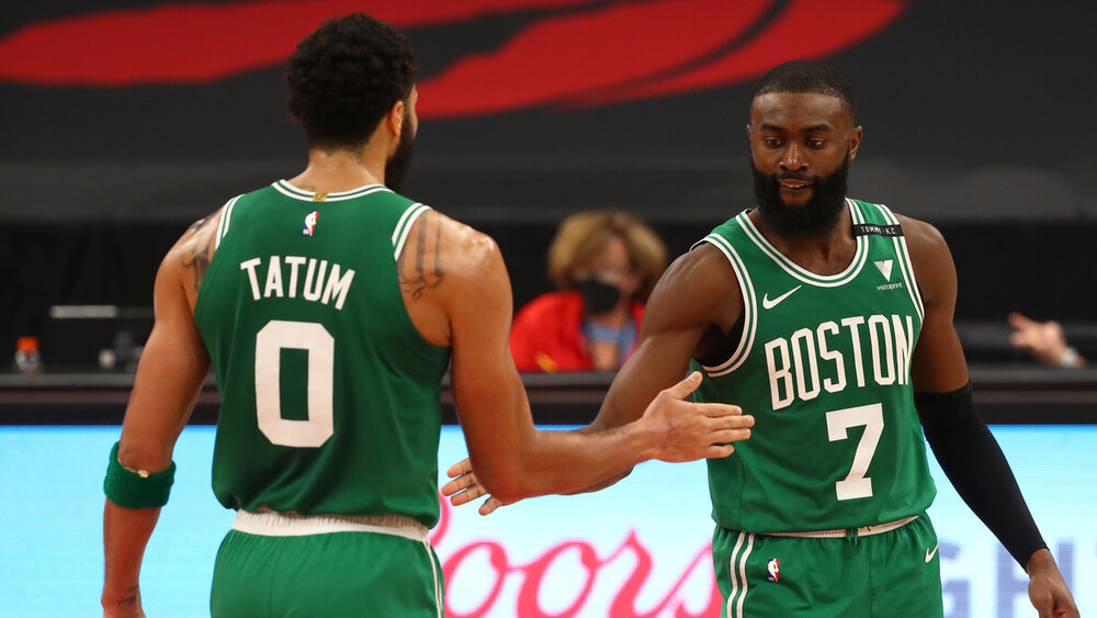 Tatum and Brown combined for 59 in the Celtics' win over the Wizards. (Photo by Kim Klement/USA TODAY Sports)