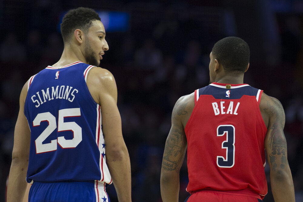 The Sixers can have their own version of the Big 3 with Beal, Ben Simmons and Joel Embiid. (Photo by Mitchell Leff/Getty Images)