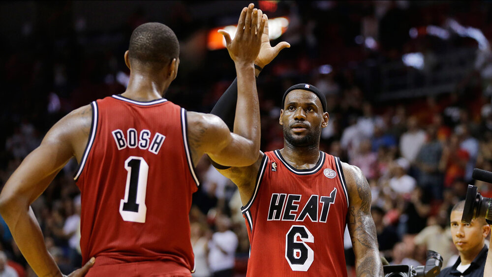 Chris Bosh and LeBron James won two championships together in Miami. (AP)