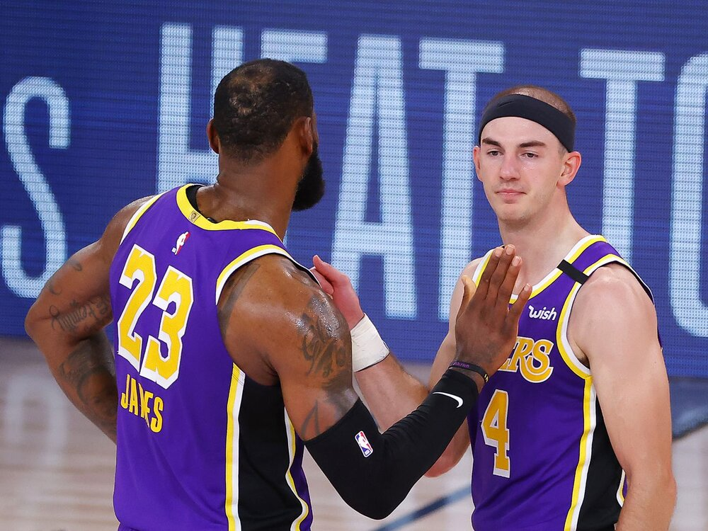 Alex Caruso and LeBron James have established quite the chemistry with the Lakers. (Photo by Kevin C. Cox/Getty Images)