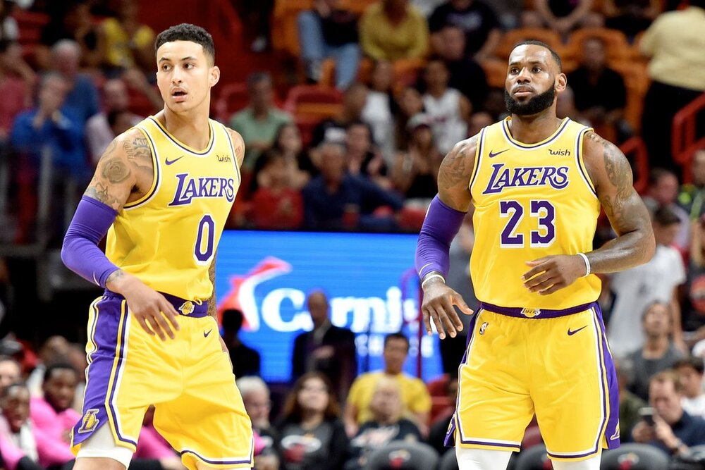 Kyle Kuzma and LeBron James of the Los Angeles Lakers. (Photo by Steve Mitchell/USA TODAY Sports)