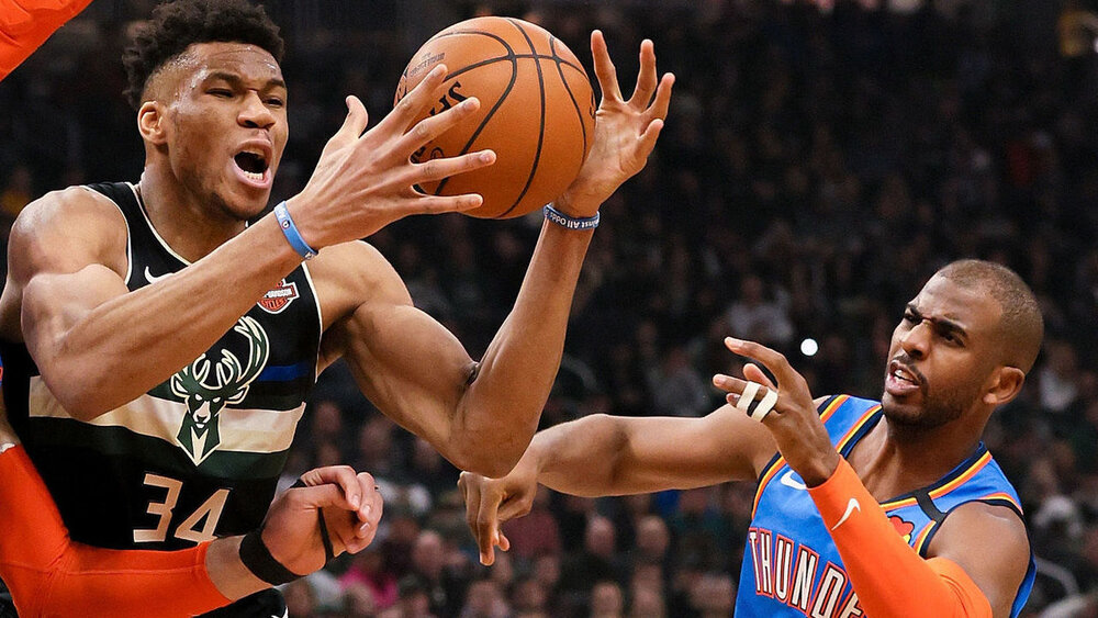 Giannis Antetokounmpo and Chris Paul could team up in Milwaukee. (Photo by Dylan Buell/Getty Images)