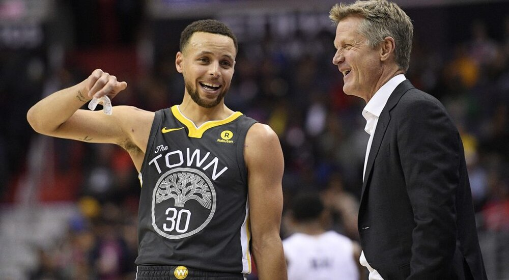 Steve Kerr and Steph Curry have their work cut out this season. (Photo by Nick Wass/AP)