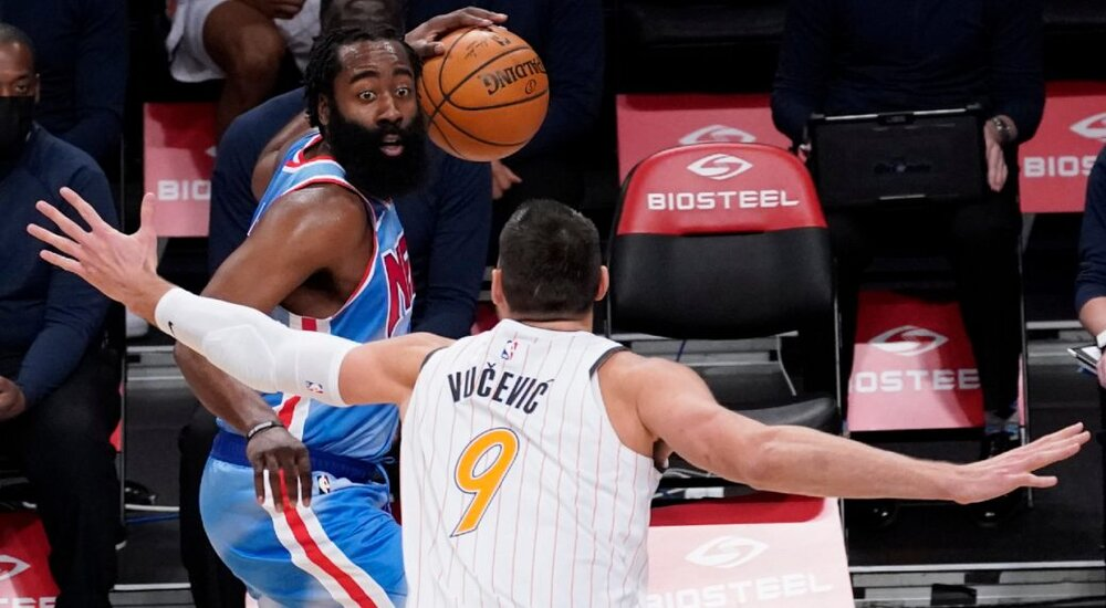 James Harden making a play during his first game as a member of the Brooklyn Nets. (Photo by Mary Altaffer/AP)