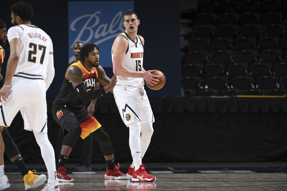 Nikola Jokic scored 47 points in the Nuggets' win over the Jazz last night. (Photo by Garrett Ellwood/NBAE/Getty Images)