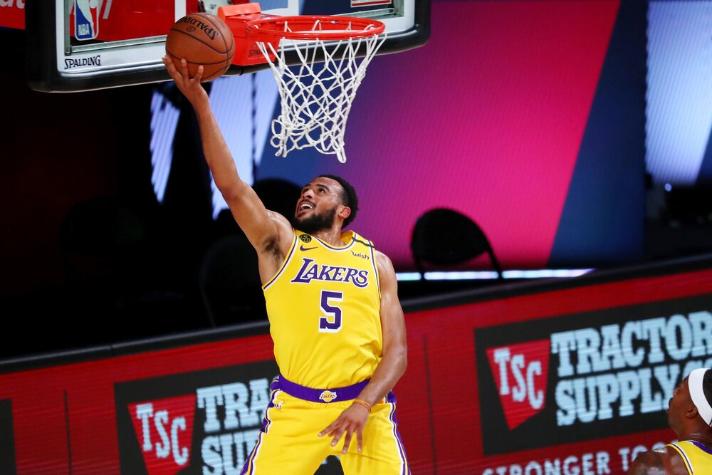 Talen Horton-Tucker tallied 4 steals in the Lakers' win over the Rockets. (Photo by Kim Klement/Getty Images)