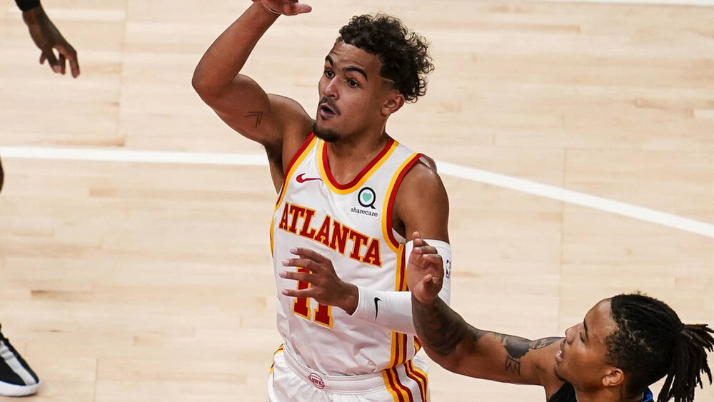 Hawks' Trae Young scored 29 points in the win against the Pistons. (Photo by Dale Zanine/USA TODAY Sports)