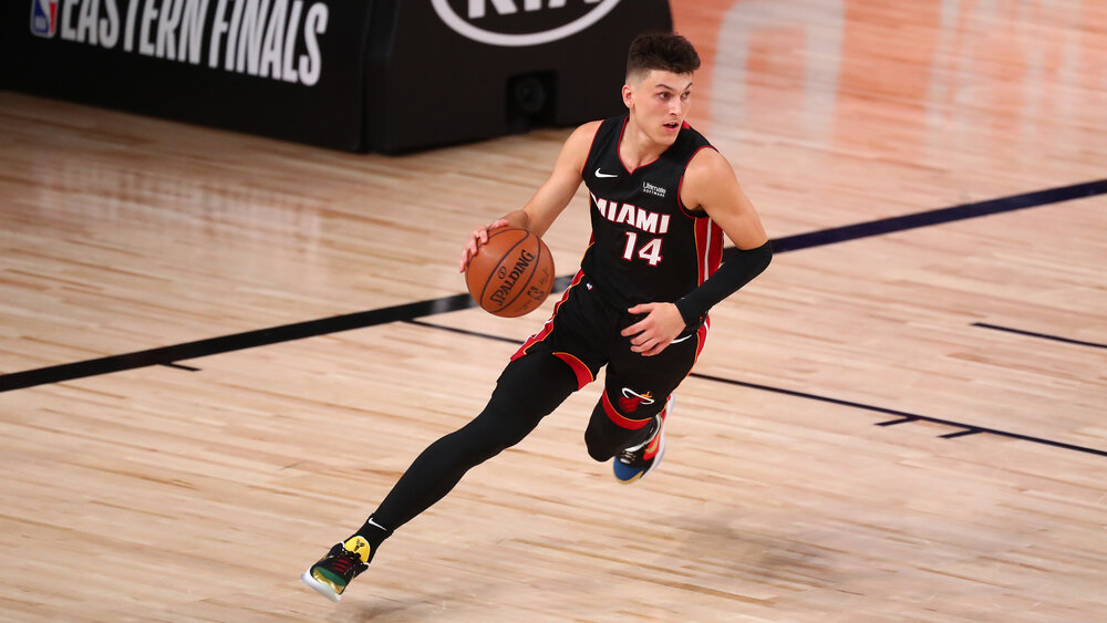 Tyler Herro poured in 37 points in Miami's Game 4 win over Boston. (Photo by Kim Klement/USA TODAY Sports)
