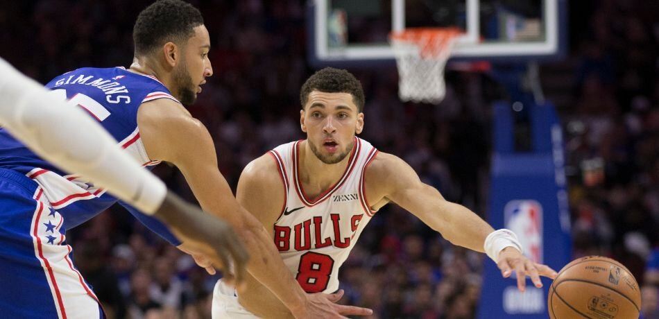 Ben Simmons and Zach LaVine could be traded this season. (Photo by Mitchell Leff/Getty Images)