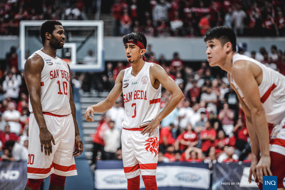 Donald Tankoua, Evan Nelle and Calvin Oftana of the San Beda Red Lions. (Photo by Tristan Tamayo/Philippine Inquirer)