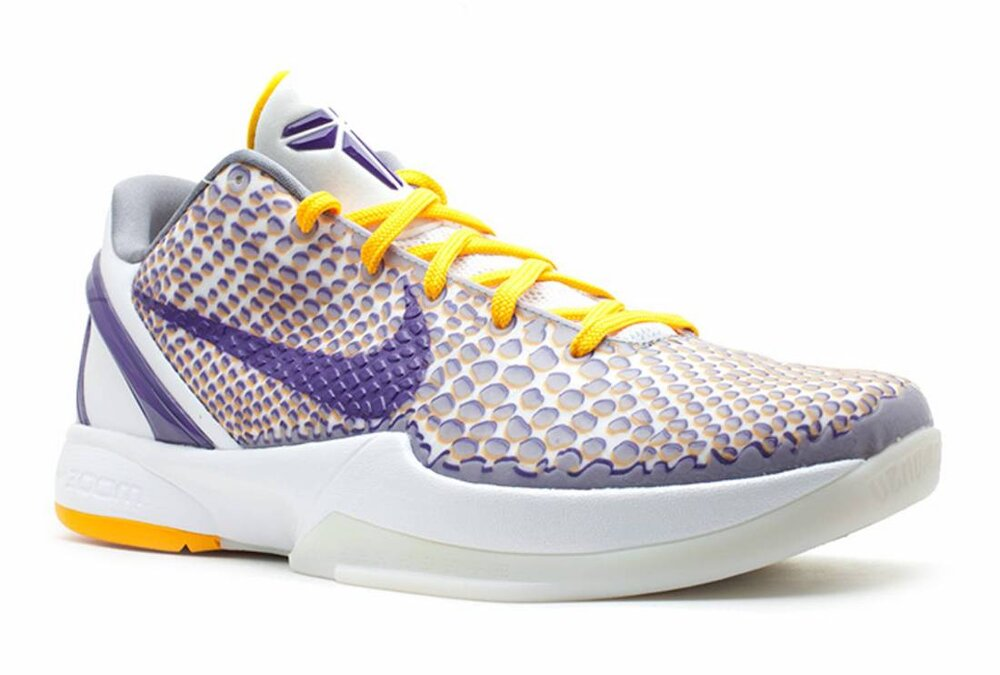 """The Nike Kobe 6 Protro """"3D Lakers"""" nods to the 2010 championship campaign of the Lakers. (Photo courtesy of SHOF)"""