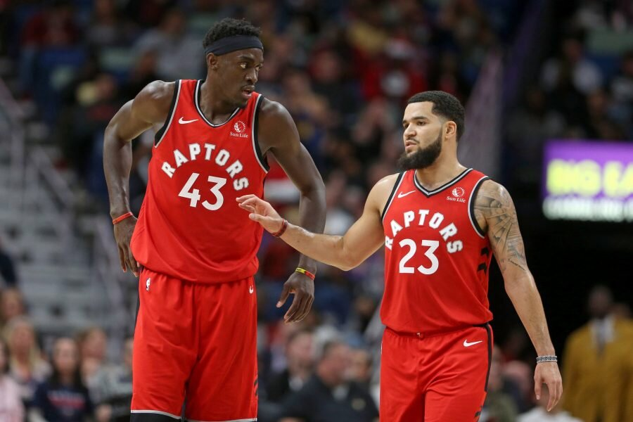 Pascal Siakam and Fred VanVleet combined for 46 points in the Raptors' win over the 76ers. (Photo via Hoops Rumors)