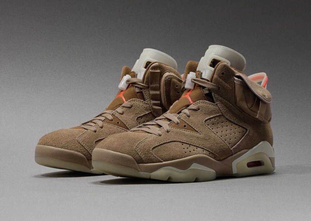 """The """"British Khaki"""" colorway of the Air Jordan 6 x Travis Scott will be releasing this month. (Photo courtesy of Sneaker Bar Detroit)"""