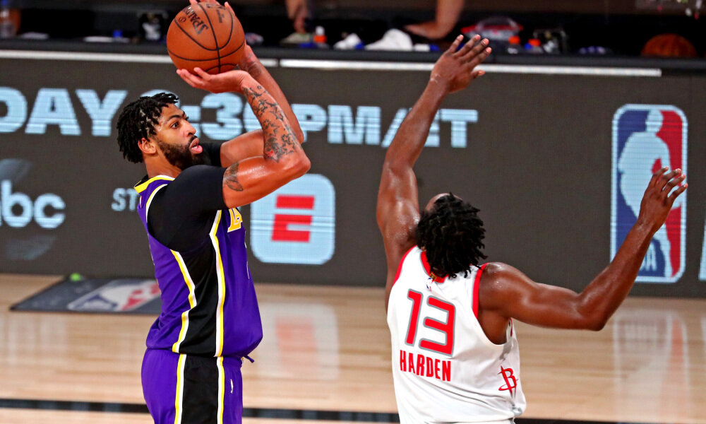 Anthony Davis poured in 29 points to power the Lakers past the Rockets in Game 4. (Photo by Kim Klement/USA TODAY Sports)