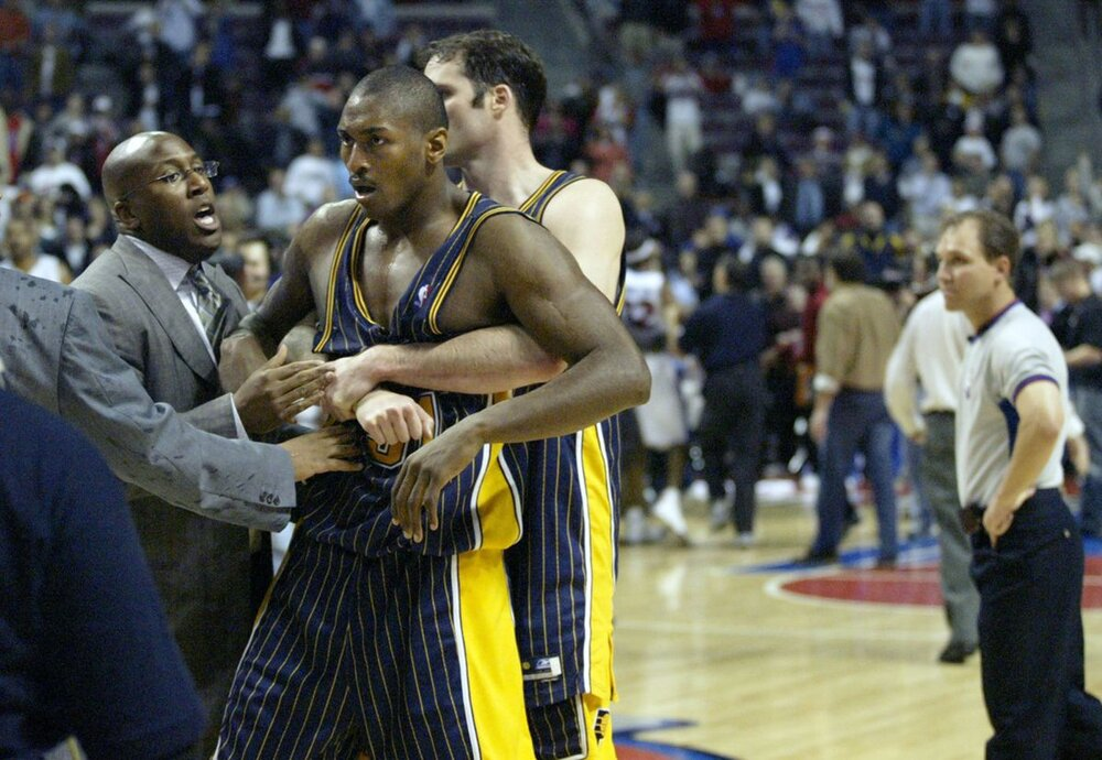 """Artest played a key role in the """"Malice at the Palace"""" brawl. (Photo by Duane Burleson/AP)"""