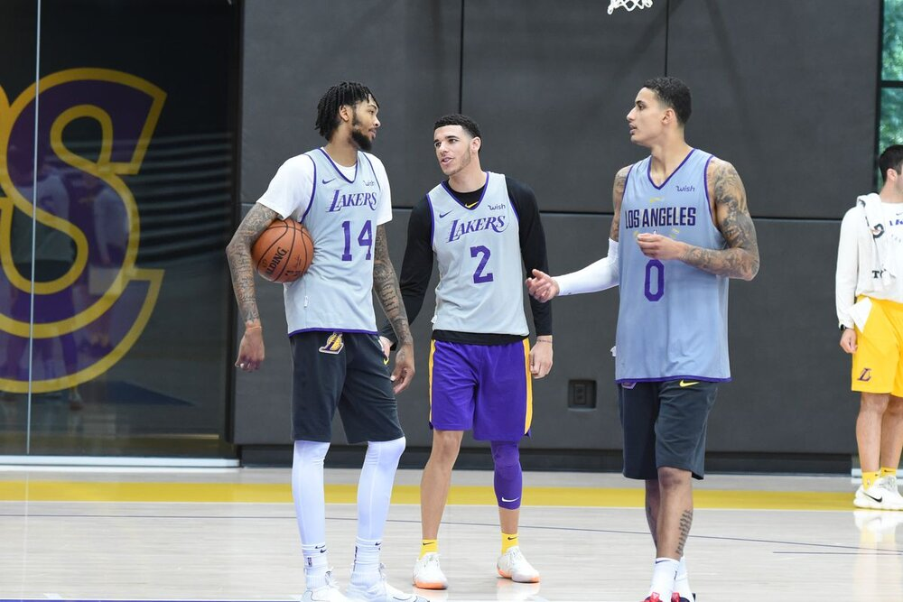 Kuzma could again team up with former teammates Lonzo Ball and Brandon Ingram in New Orleans. (Photo by Andrew D. Bernstein/NBAE/Getty Images)