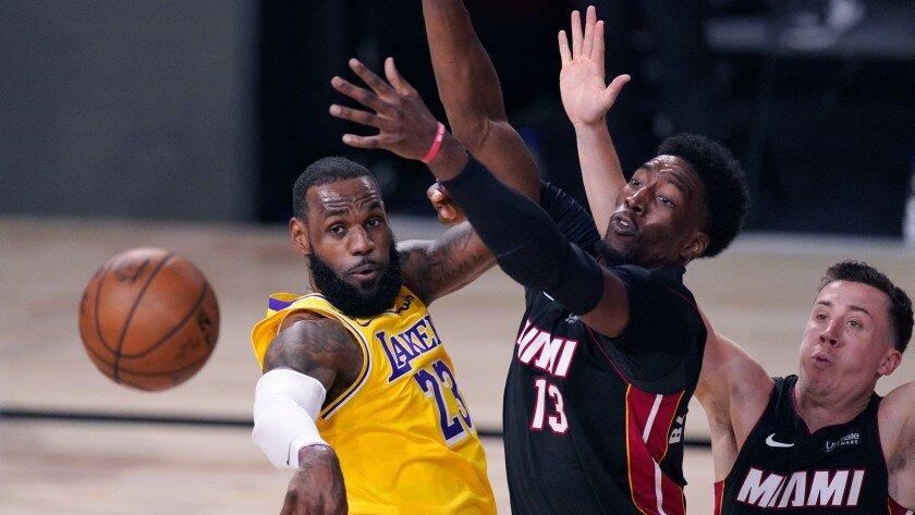 LeBron James and Bam Adebayo during the 2020 NBA Finals. (Mark J. Terrill/AP)