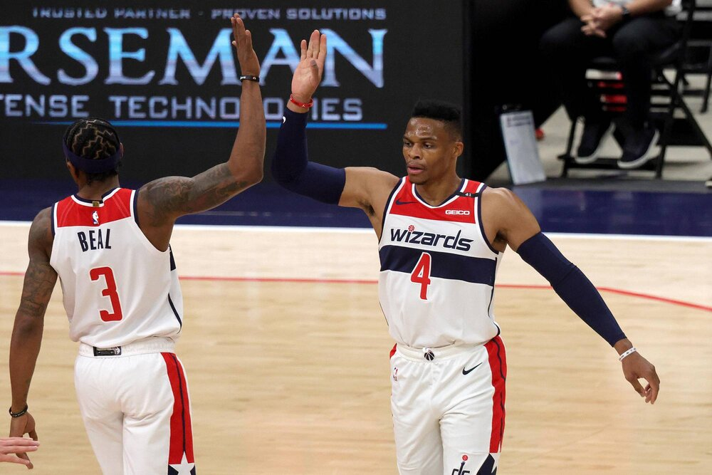 Beal and Westbrook combined for 78 in the Wizards' win over the Nets. (Photo by Rob Carr/USA TODAY Sports)