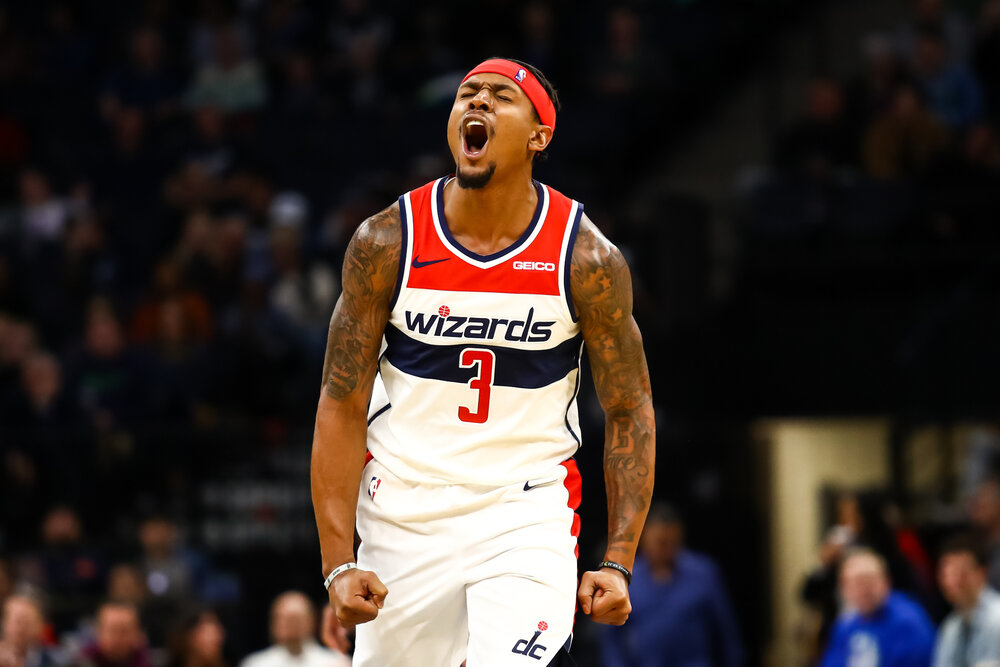 Bradley Beal scored 34 points in the Wizards' third victory of the season. (Photo by David Berding/Getty Images)