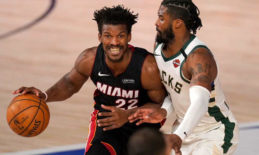 Heat's Jimmy Butler won Game 2 with his two walk-off free throws to take down the Bucks. (Photo by Mark J. Terrill/AP)