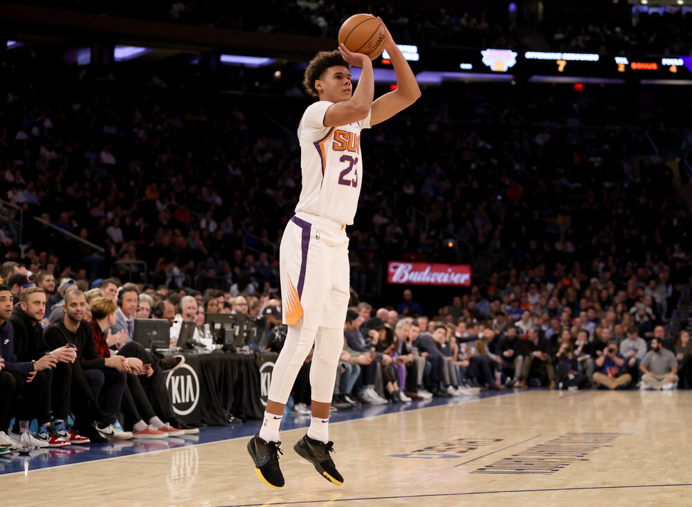 Suns' Cam Johnson shot a solid 39% clip from deep last season. (Photo via Getty Images)