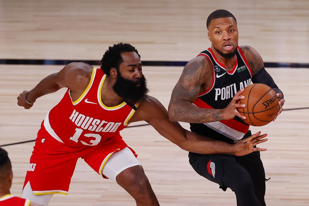 Harden and Damian Lillard could team up this season for the Blazers. (Photo by Kevin C. Cox/Getty Images)