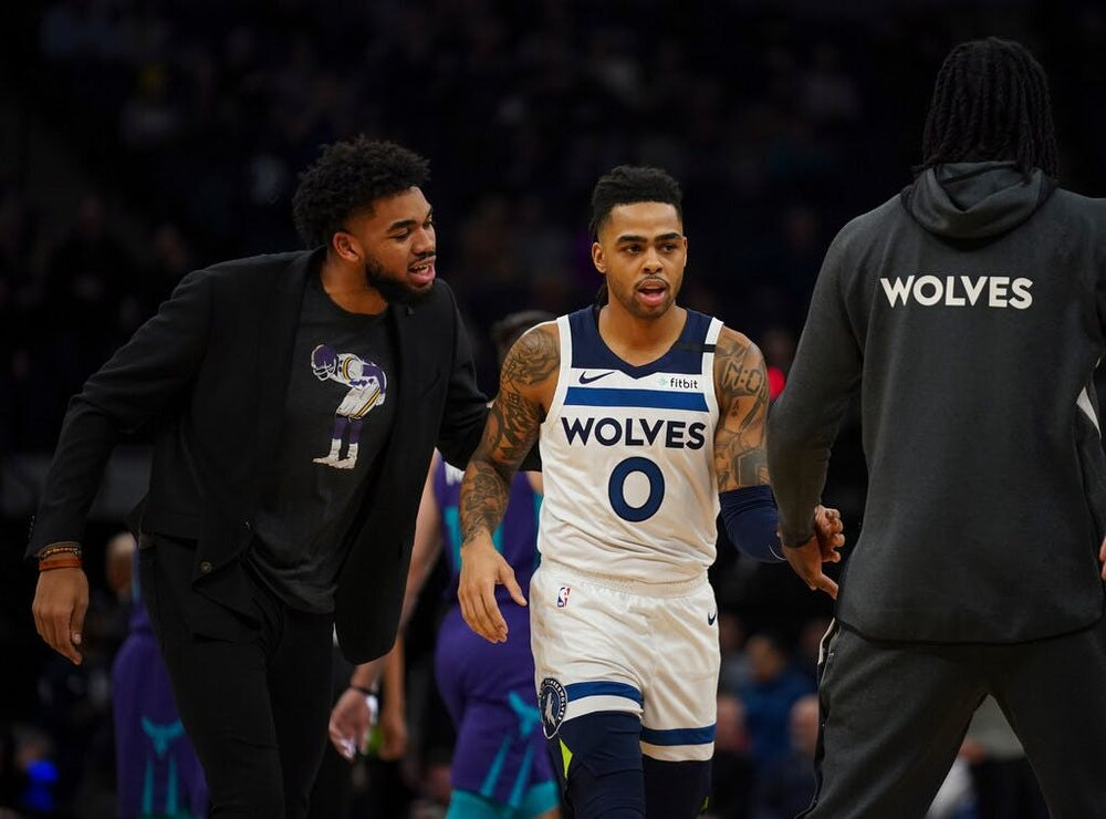 Young stars Karl-Anthony Towns and D'Angelo Russell are primed to bring more wins to Minnesota. (Photo via the Star Tribune)