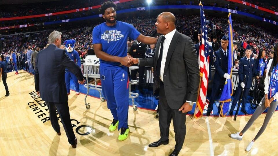 Doc Rivers and Joel Embiid will forge a partnership to bring the 76ers to greater heights. (Photo via Yahoo Sports)