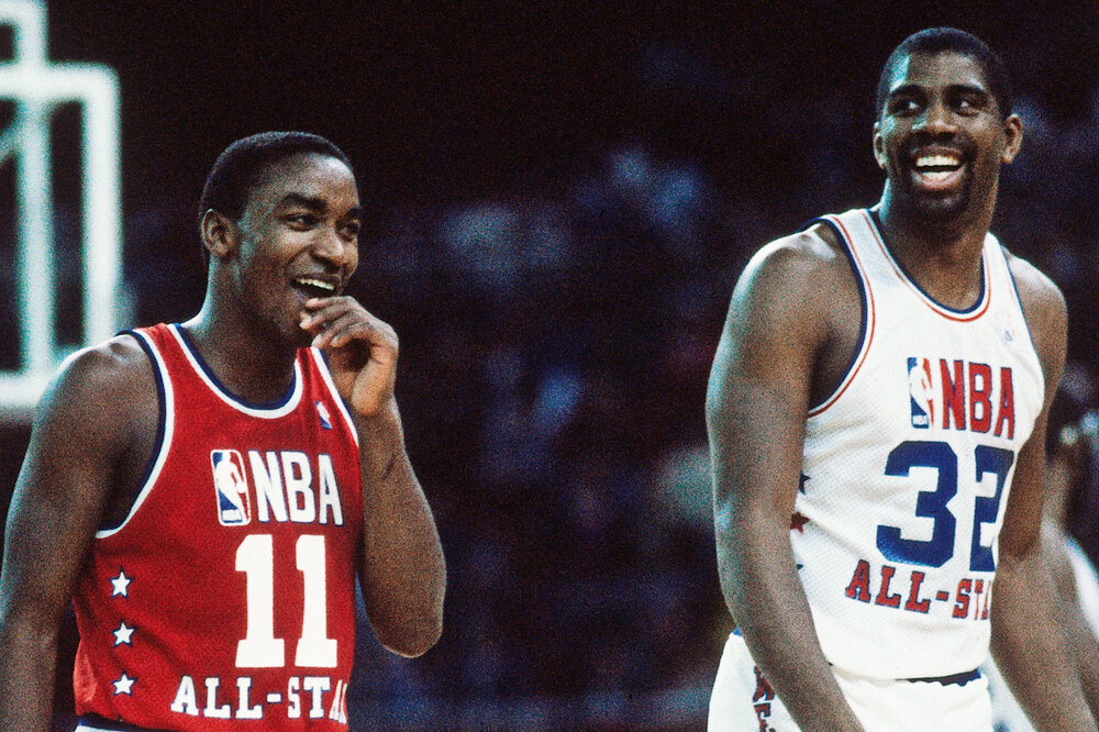Isiah Thomas tallied 15 assists in the 1984 NBA All-Star Game. (Photo by Andrew D. Bernstein/Getty Images)