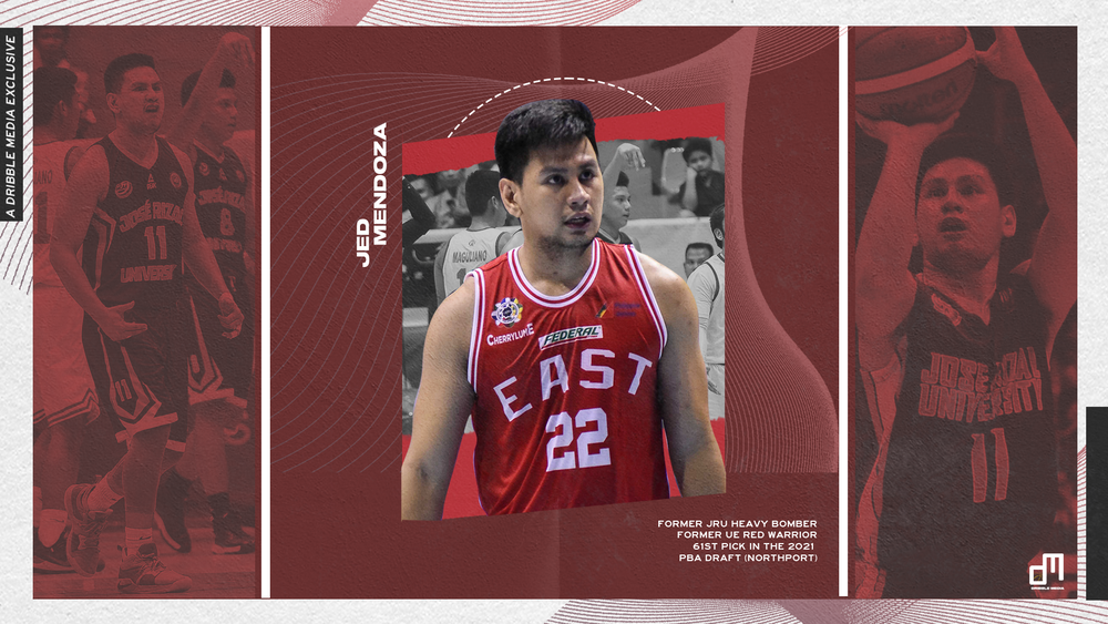 Former UE Red Warriors and JRU Heavy Bomber Jed Mendoza was the 61st pick in the 2021 PBA Draft.