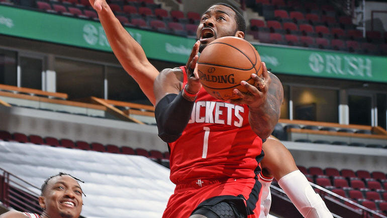 John Wall impressed in his debut in a Rockets uniform. (Photo via Getty Images)