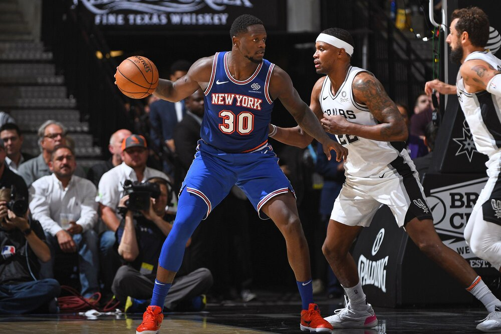 Julius Randle is making 40% of his three-point shots for the Knicks this season. (Photo via the New York Post)