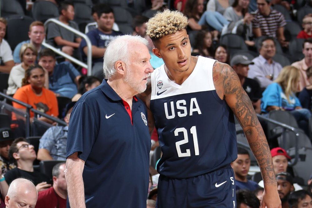 Kuzma and Spurs head coach Gregg Popovich spent time together in the Team USA training camp in 2019. (Photo by Nathaniel S. Butler/Getty Images)