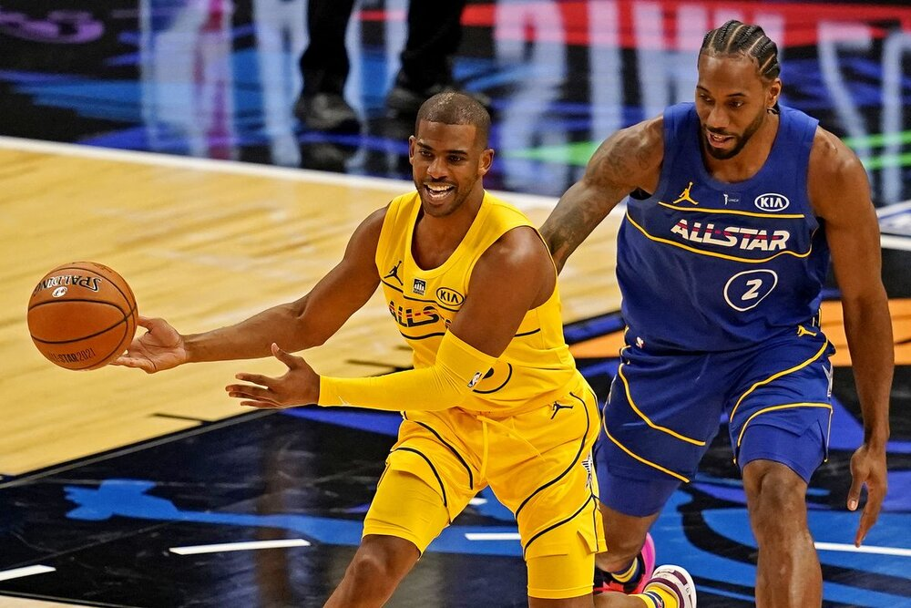 Chris Paul delivering another assist during the 2021 NBA All-Star Game. (Photo by Dale Zanine-USA TODAY Sports)
