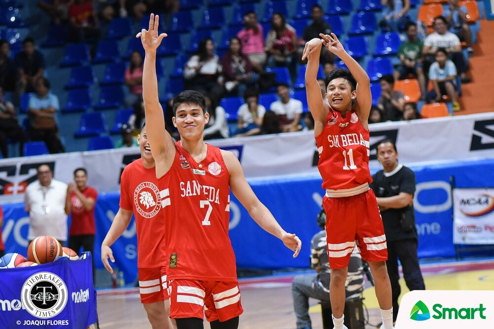 Penny (end right) joined forces with San Beda stars Rome Dela Rosa and Calvin Oftana during the NCAA Season 94 All-Star Shooting Stars Challenge. (Photo by Joaqui Flores/ Tiebreaker Times )