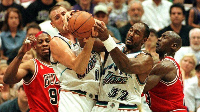 Karl Malone Michael Jordan (Photo via KSL Sports)