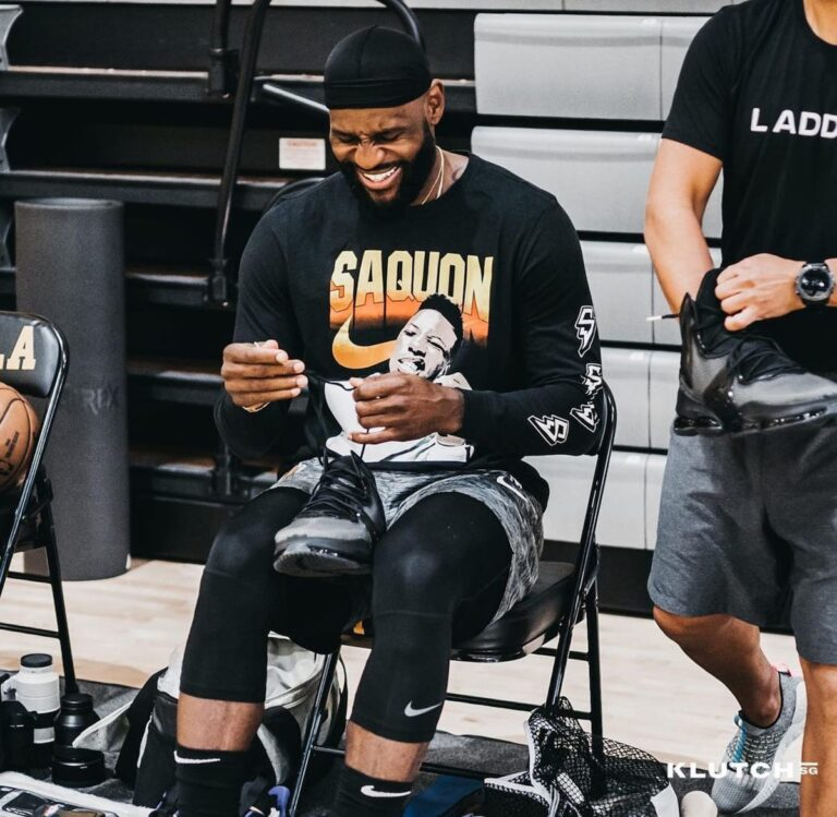 LeBron James reveals a new colorway of the Nike LeBron 19. (Photo courtesy of Graydientvisuals)